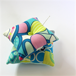 2 x Pretty Pin Cushions - Blue & pink candy pop with polka Patchwork supreme