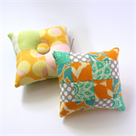 2 x Pretty Patchwork Pin Cushions - Orange, mint & Grey with martini dots