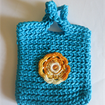Kids handbag crochet aqua colour