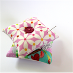 2 x Pretty Pin Cushions - Pinwheels on pink & Purple Polka Patchwork supreme