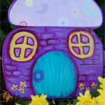 Purple Fairy/Elf mushroom house with free shipping