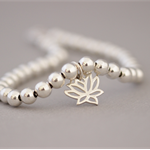 Silver Bead Bracelet with Lotus Charm