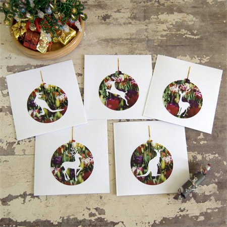 Antler Christmas Cards - set of 5 cards