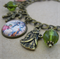 Antique bronze Christmas Charm Bracelet - Victoriana Style with green beads