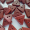 Handcrafted timber button - Hand cut red gum, small triangle with 2 holes