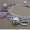 Silver Christmas Charm Bracelet - Victoriana Style with pearls
