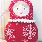 Christmas Matryoshka (Babushka) Folk Doll, Folk Christmas Decoration