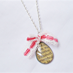 Necklace Elizabeth Bennet Jane Austen Pink White Lace Bow Pride Prejudice