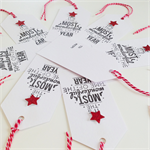 SET OF 6 hand stamped red glitter star & twine white gift present tags Christmas