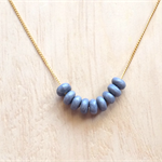 GOLD GREY POLYMER CLAY MINI BEAD NECKLACE - FREE SHIPPING WORLDWIDE