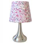 Purple fabric lampshade + lamp base - small tapered shade