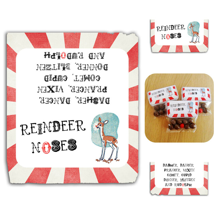 photo relating to Reindeer Noses Printable titled Printable Classic impressed Xmas Reindeer Noses Label