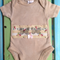 Tea dyed applique onesie - 000 newborn, baby shower, gift, baby, butterfly, bow