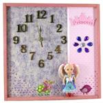 Modern Wall Clock, Art In Pink for Princess Girls Bedroom decor, Nursery Art