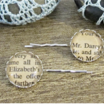 Pride and Prejudice Bobby Pin Set Vintage Book Page Text Silver Mr Darcy Austen