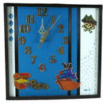 Unique Wall Clock, Blue Wall Art, Pirate Theme Decor, Nursery Bedroom Decor