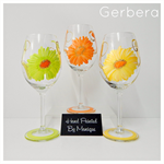Personalised Wine Tour Glasses & Gift Boxes x 3 Gerbera
