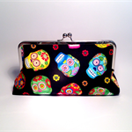 Happy skulls 2 large clutch purse