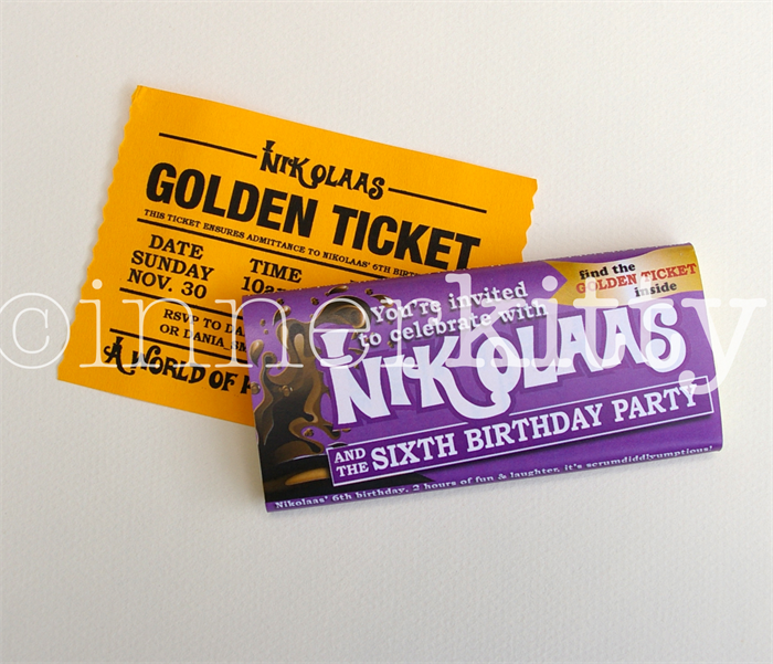Williy Wonka Chocolate Bar Invites With Golden Ticket Print It