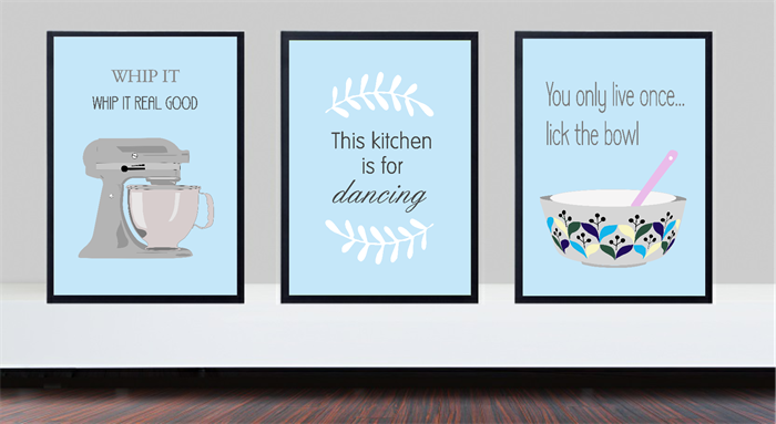 Charming Duck Egg Blue Kitchen Prints, Whip It Good Print, Kitchen Is For Dancing