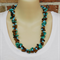 Turquoise Brown Green Crochet Wire Beaded Handmade OOAK Necklace by Top Shelf