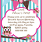 Look Whoo's Birthday- blue stripes - Digital Party Invitation