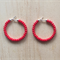 SMALL RED COLOUR BASICS HOOP EARRINGS - FREE SHIPPING WORLDWIDE