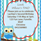 Look Whoo's Birthday-blue owl-  Digital Party Invitation