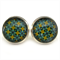 STUD EARRINGS- Turquoise and gold pattern
