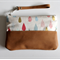 Wristlet, clutch, purse, fabric and leather