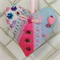Embellished Crazy Patchwork Shabby Chic Fabric Hanging Heart with Appliques