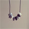 Granite white grey bead polymer clay adjustable black waxed cotton necklace