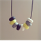 Yellow white grey bead polymer clay adjustable black waxed cotton necklace