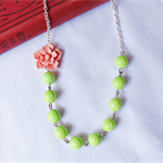 Melian Necklace Rose Pink Lime Green Avocado Floral Rose Flower Botanical Beaded