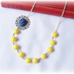 Orome Necklace Yellow Navy Blue Silver Candyland Vintage Beaded Owl Bird