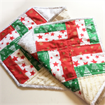 Christmas Quilted Table Runner. Red, White & Green