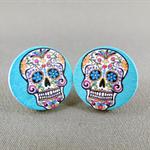 Stud Earrings - Blue Sugar Skulls Round Wooden