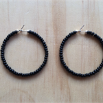 LARGE BLACK COLOUR BASICS HOOP EARRINGS - FREE SHIPPING WORLDWIDE