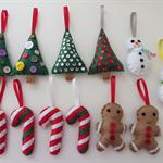 Handmade Felt Christmas Decorations 12 pk