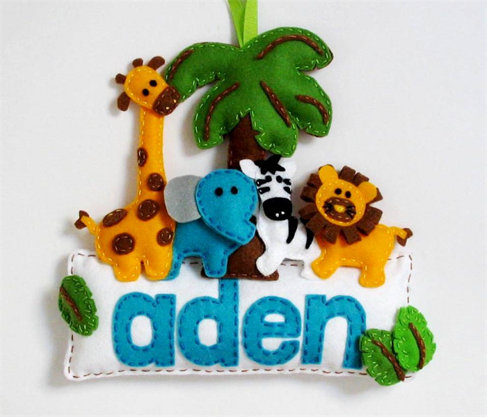 safari made to order personalised felt name banner plaque nursery
