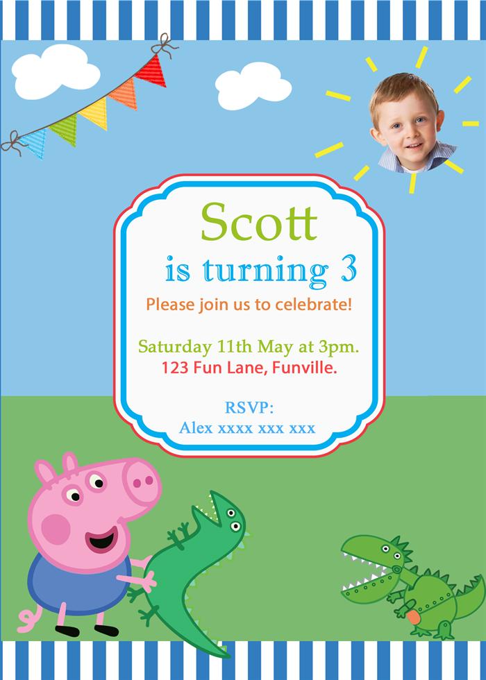 Peppa Pig-George & Friends Digital Party Invitation | Scissors ...