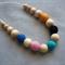 Organic Wood Bead Necklace / Rainbow on Cream / Breastfeeding & Baby Wearing