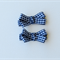 Navy and White Gingham Hair Bow Clips