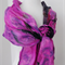 nuno felted silk chiffon scarf wrap by plumfish in shades of pink and purple
