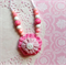 Cute Little Girl Designer Fabric Yoyo Bead Button Necklace Pink Pendant