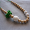 Organic Wood Bead Necklace / Green and White on Green Thread / Nursing Mums