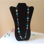 Turquoise and silver tone beaded necklace view other necklaces in store