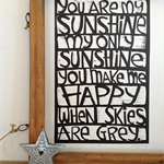 you are my sunshine - original linocut print - wall art
