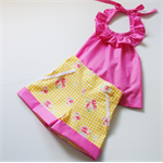 Yellow gingham high-waisted shorties - custom size 0-4