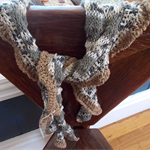 olive, khaki, black and white ruffled scarf.  Cotton, bamboo and acrylic yarns